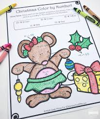 christmas color by number division