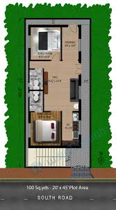 2 Bhk Home Design Plans by Way2nirman 100 Sq Yds 20x45 Sq Ft South Face House 2bhk Elevation