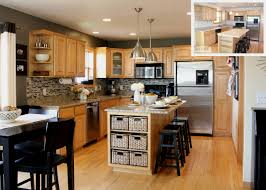 Cottage Kitchen Islands Kitchen Beige Wall Themes And Brown Wooden Oak Cabinet And