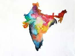 World Map Poster India by India Map Print 8x10 Watercolor Painting Colorful Watercolor Map