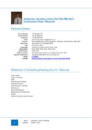 Resume Samples Experienced Professionals by Curriculum Vitae Resume Of J J Jaco Van Der Merwe