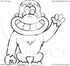 cartoon clipart of a black and white friendly waving orangutan