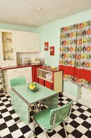 kitchen retro kitchen with pastel green foldable table and chairs