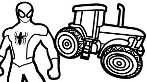 spiderman and tractor coloring page coloring book kids fun art