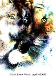 painting of eagle and tiger with wolf abstract background
