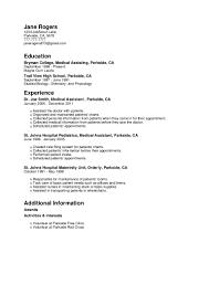 Resume For Medical Assistant Externship Jane Rogers Resume