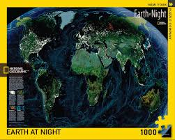 World Map At Night by Earth At Night U2013 New York Puzzle Company