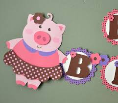 pink pig birthday party banner or baby shower