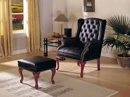 Queen Anne Wingback Chair Leather Newman U0027s Furniture Queen Anne Dark Blue Leather Wing Chair