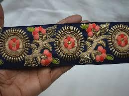 craft ribbon wholesale navy blue indian sari border craft ribbon wholesale embroidered
