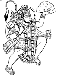 kathakali outline hanuman coloring book hanuman kerala mural