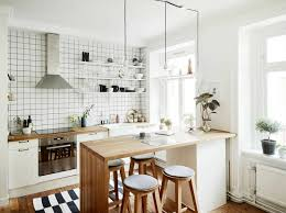 White Formica Kitchen Cabinets Kitchen Room Wall Black Cabinets White Floor Wood Backsplash