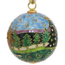 golf with santa cloisonne ornament
