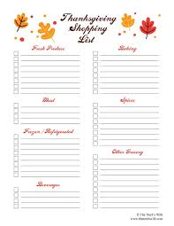free printable thanksgiving grocery lists happy thanksgiving
