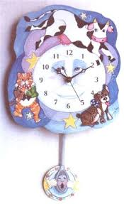 colorful pendulum wall clocks for children cow over the moon