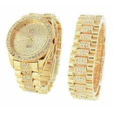 gold bracelet mens watches images Gold finish mens watch iced out hip hop matching bracelet jpeg
