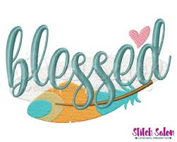 blessed feather thanksgiving embroidery design files for shirts