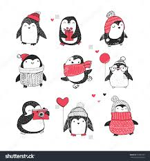 cute hand drawn penguins set merry christmas greetings stock