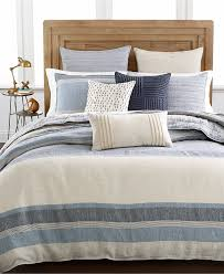 amazon com hotel collection linen stripe beige and blue full