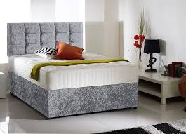 crushed velvet good quality divansets single double bed luxury