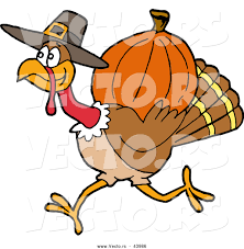 vector of a pilgrim turkey carrying a pumpkin for