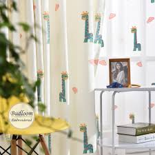 popular giraffe bedroom curtains buy cheap giraffe bedroom cartoon giraffe embroidered curtains for kids room faux lovely linen curtains for bedroom baby room curtains