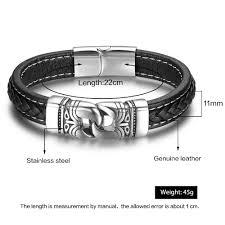 man stainless bracelet images Stainless steel chain leather bracelet black 220mm jpg