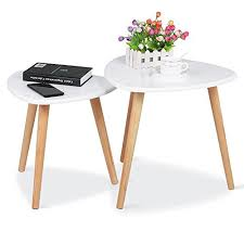 end table set of 2 yaheetech white gloss wood nesting tables living room sofa side end