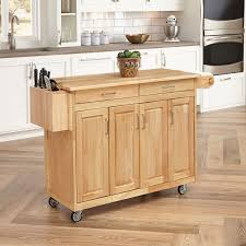 Kitchen Carts Islands by Charlton Home Jordan Kitchen Island Cart With Natural Wood Top