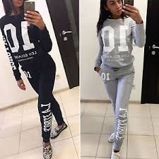womens tracksuit 2pcs sweatshirt top pants jogging sports wear
