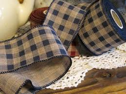 navy blue wired ribbon navy blue gingham wired ribbon gingham ribbon primitive