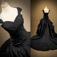 Gothic Wedding Dresses Custom Black Satin Ball Gown Gothic Wedding Dresses Sweetheart Cap