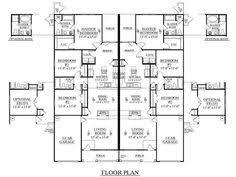 one level duplex craftsman style floor plans duplex plan 1261 b