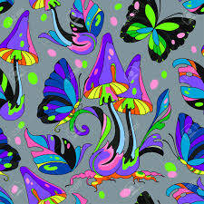 psychedelic and butterfly seamless pattern gray