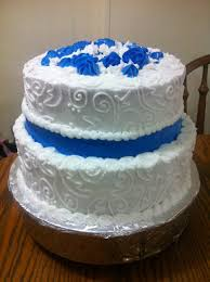 life and other shenanigans two tier blue wedding cake with scrolling