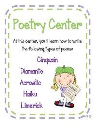 poetry center worksheets diamante haiku cinquain limerick acrostic