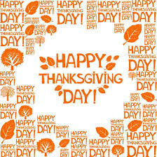 happy thanksgiving day orange text on white background greeting card