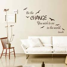 online get cheap wall sticker quotes be the change you aliexpress wall quote be the change you wish to see in the world vinyl stickers sea gull mural home interior design living room decor