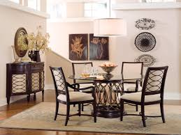 dining room graceful round glass dining table and wooden base