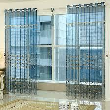 Sheer Blue Curtains Elegant Peacock Blue Embossed Flora Pattern Living Room Sheer Curtain