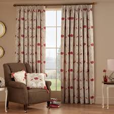 homely ideas ready made curtains design modern leaf red eyelet