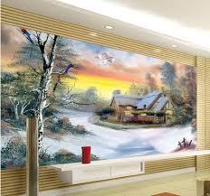 custom wallpaper papel de parede hd 3d snow landscape painting 3d