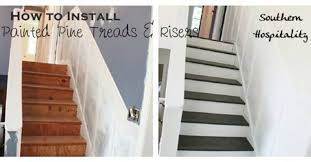 update old stairs with painted pine treads and new risers hometalk
