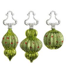 raz imports lime green glass finial ornaments with