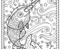 unicorn christmas coloring color book art fantasy