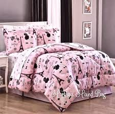 Twin Bedding Sets Girls by Paris Chic Eiffel Tower French Poodle Teen Girls Pink Comforter