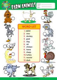 farm animals esl printable worksheets for kids 3