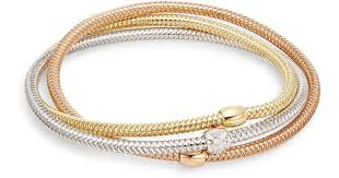 gold mesh bracelet images Lyst roberto coin primavera diamond 18k tri gold mesh bangle jpeg