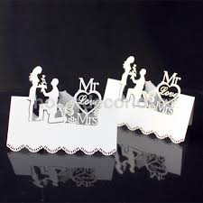 50pcs white laser cut wedding table place card name card wedding party table decoration mr mrs jpg