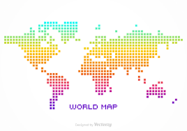 World Map Vector Free Vector Colorful Silhouette Of A World Map Created In Pixel
